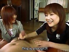 Subtitled Chinese CFNM female domination duo with handjob cumshot