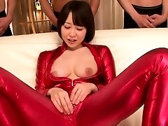 asian bondage suit cosplay babe sucking cock