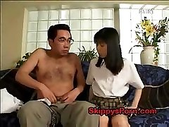 Japanese college girl gets her pussy licked by an older man