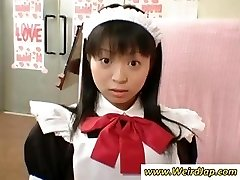 Petite Japanese maid gets disciplined for being bad while all watch