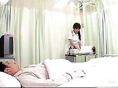 Wild JPN nurse doing body examination to this part1