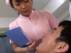 Chinese dentist and nurse drooling on patient