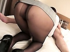 Mai Asahina takes on a thick dick in her pantyhose railing