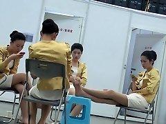 Candid Japanese Hostess Nylon Feet