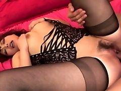 Lady in hot black underwear has three-way for creampie finish