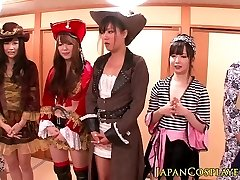 Japanese cosplay babes sploog in fuck-fest