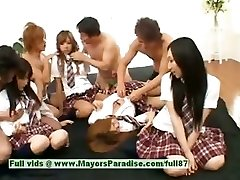 Japanese V chicks play with an orgy