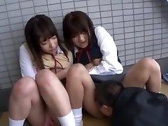 Best Japanese dame Yua Aihara, Makoto Takeuchi, Iku Sakuragi in Greatest Cunnilingus, College/Gakuseifuku JAV clip