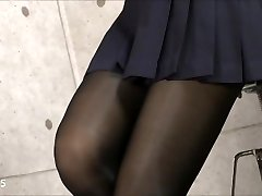 Glorious Asian in Uniform Nylons Pantyhose Feet & Gams