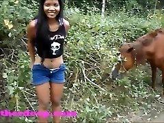 Heather Deep on ATV need to pee next to horses