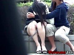 Asian teenie spied peeing