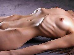 Bony girl shows her ribs
