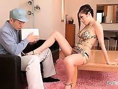 Smoking scorching Japanese housewife seducing part3