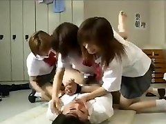Strap On Dildo gangbang by 3 japanese college girls