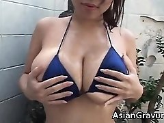 Steaming dark haired asian hoe with big juggs