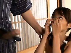 Asuka Hoshino inhales shlong and nutsack