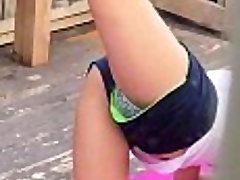 Spying on torrid cousin while she exercises pt 1