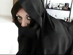 Iranian Muslim Burqa Wife gives Footjob on Yankee Mans Big American Trouser Snake