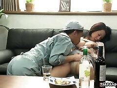 Japanese brunette mega-slut, Asuka is fucking a shy handyman, unc