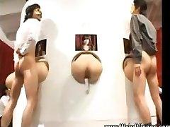 Asian butts get nailed through gloryholes