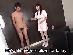 Subtitled JAV actor audition CFNM hand-job explosive cumshot