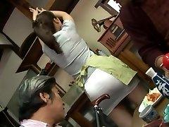 Mature fucking threesome with Mirei Kayama in a mini micro-skirt