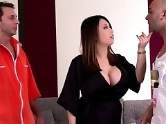 Huge jugged asian housewife loves hard double invasion
