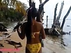 HD Ameteur Tiny Thai Teen Heather Deep day at the beach gives gargle Throatpie Gulp