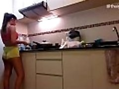Amateur Japanese Girl Strips naked while cooking in her kitchen