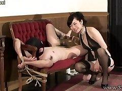 Chinese Femdom Prostate Massage Strapped Slave