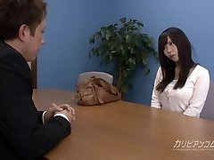 Job interview leads deepthroating a beefstick