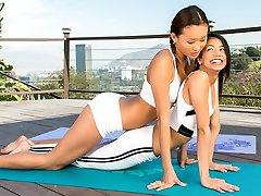 Yoga with two bombshells