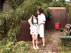 Lil' japanese babe fingerfucked outdoors