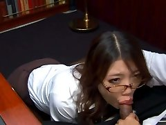Kinky Asian assistant in glasses Ibuki sucks the sausage of her spoiled boss