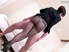 nylon stockings attendant stockings footjob