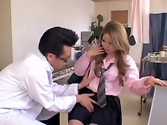 Chubby Japanese gets some activity during her Gynecology exam