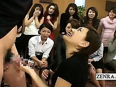 Subtitled CFNM Japan Milf TV stiffy pump demonstration