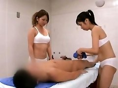 Subtitled CFNM Japanese sauna doll couple penis cleaning