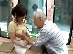 Candid young japan girl be seduced by senior dude