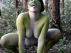 Stark naked Japanese hefty frog lady in the swamp HD