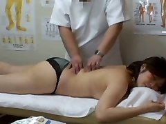 Medical voyeur rubdown video starring a plump Asian wearing black panties
