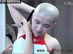 beautiful girl armpits hair bald by barber with a straight razor.
