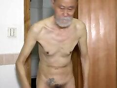 china old skinny dad shows ass and Masturbating