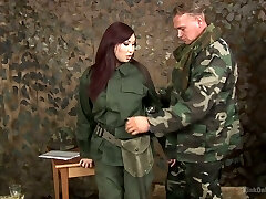 Japanese chick in military uniform Aisha San gives a good blow-job to one soldier