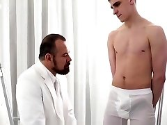 Virgin missionary stroked and fellated by priest daddy