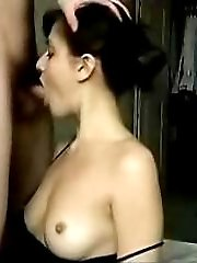 Teen hottie sucks cock and eats her boyfriends cum