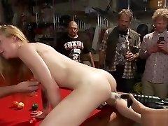 Chained blonde poke in public biker club