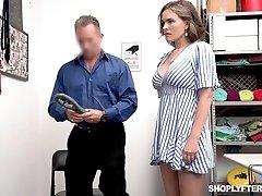 Supah sexy shoplifter Krissy Lynn gets penalized in a guard room
