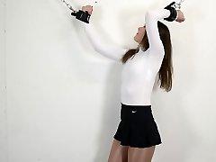Rachel Adams Chained up in shiny pantyhose &leotard restrain bondage