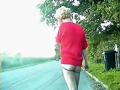 Zoe exhibitionist transvestite tramp in bumless super hot pants on the streets